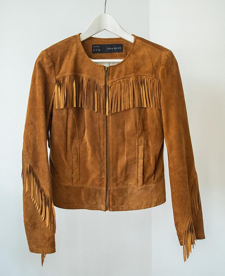cazadora western de ante en color marrón